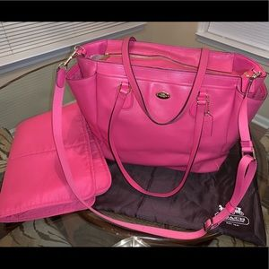 COACH Hot Pink Diaper Bag w/ Pad!
